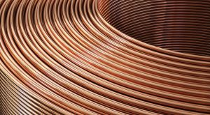cropped shot of copper pipes