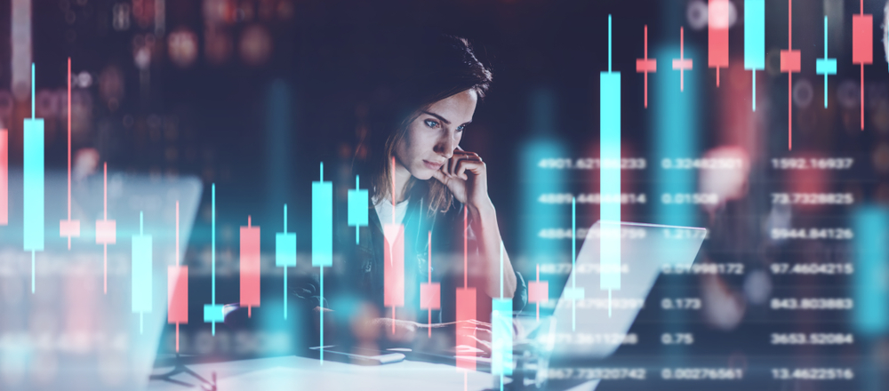 Woman leader immersed in the data
